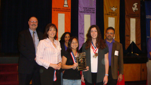 Art Hendela and the third place winners of the 2010 Chemistry Olympics Website Competition at NJIT